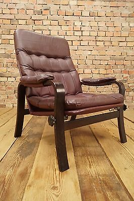 60s Retro EASY CHAIR DANISH RELAX LEATHER LOUNGE ARMCHAIR FAUTEUIL Vintage