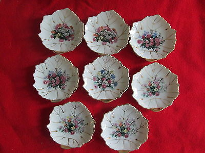 "VTG Lot 8 Leaf Shaped 4"" Nut/Butter/Condiments Plates- Japan China"