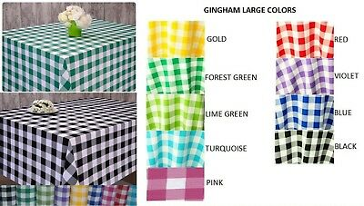 GINGHAM CHECK Polyester Tablecloths - All Sizes - 9 Colours Oval, Round, Rct ,SQ