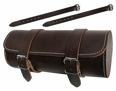 Full Grain Genuine Leather Motorcycle Motorbike Universal Tool Roll Saddle Bag