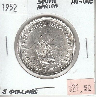 South Africa 5 Shillings 1952 Silver AU Almost Uncirculated