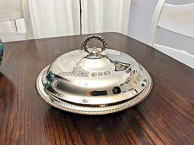 Vintage Wm Rogers Silverplate Large Covered Serving Dish w/ Pyrex Glass Insert