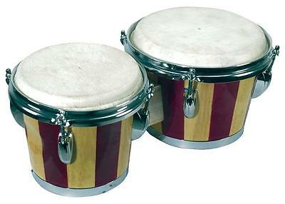 Retro Wooden Bongo Palm Drums - Natural Skin Hand Instrument, Latin Percussion