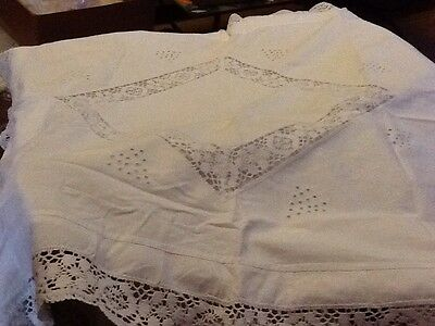 Antique White Linen Pillowcase Embroidered, Thread Work And Lace
