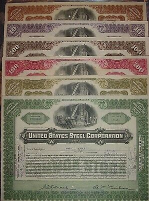 United States Steel Corporation 6 Color Stock Certificate Set US