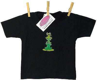 Baby Frog & Family on Lily Pad Monogram T-Shirt Toddler Short Sleeve Black 2T