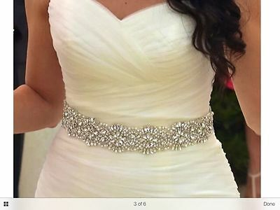 15.5 inch TRIM -Wedding Bridal Sash Belt, Crystal Pearl Wedding Dress Sash Belt
