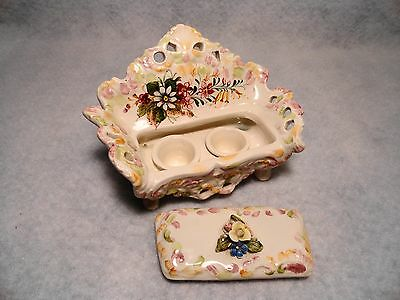 Beautiful Antique hand painted Italian porcelain ladies Lidded Sofa Ink Well