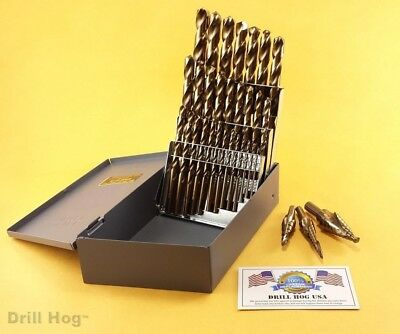 29 Pc Cobalt Drill Bit Set M42 + Step Drill Set Lifetime Warranty Drill Hog USA