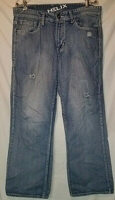 HELIX  Men's Loose Straight Leg Fit Denim Jeans 34x30 Great Used Condition.