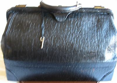 Antique Doctor Bag Black Leather mid 1800s Key Luggage Victorian STEAMPUNK