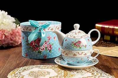 Tea for One Gift Set Vintage Rose Flower Victoria Flora Porcelain Teapot and Cup