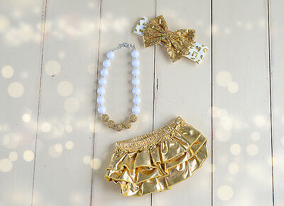 Gold bloomer baby diaper cover headband baby girl photo outfit baby bloomers