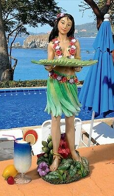 "Polynesian Hawaiin Hula Island Spirit ""mahalo"" Wahine Table Server Sculpture"