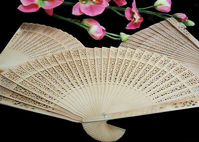 Scented Chinese Wooden Fan with Box (10 pcs)