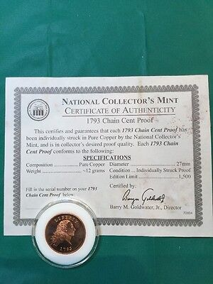 1793 Chain Cent Proof From National Collectors' Mint with COA