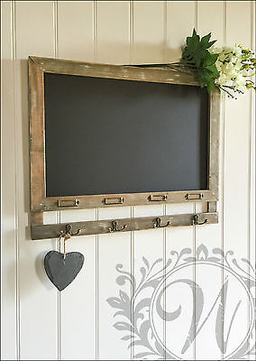 Chalk Board Wall Vintage Shabby Chic Message kitchen Notice Rustic Hooks