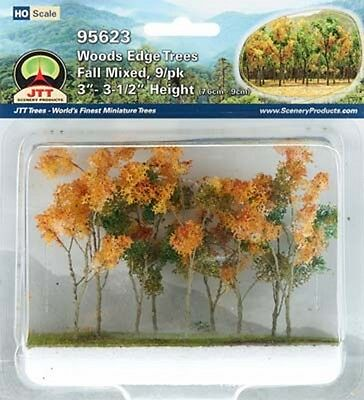 Model Train  HO/OO Scenery - 9 Medium Autumn Trees - JTT95623