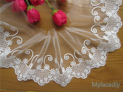 2 yd Embroidered Cotton Net Lace Edge Trim Wedding Ribbon Applique Sewing Craft