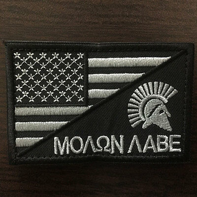 Molon Labe Spartan American Flag USA Military Tactical Morale Combat OPS Patch