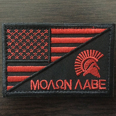 Molon Labe Spartan American Flag USA Military Tactical Morale Desert Medal Patch