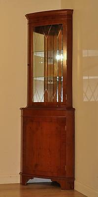 Attractive Vintage Yew Bow Front Glazed Corner Bookcase Shelves Display Cabinet
