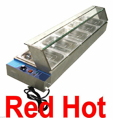 Omcan 43055 Commercial 5 Well Bain Marie Buffet Line Food Warmer Server