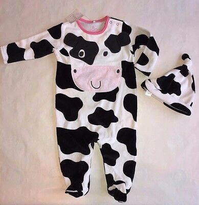 BNWT Next Cow Sleepsuit & Hat Babygrow Girls Spot All in One White Black Pink