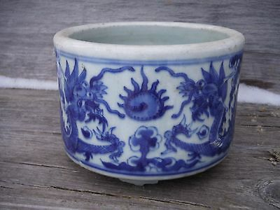 Antique Chinese Blue and White Dragon Design Footed Bowl or Cachepot, as is