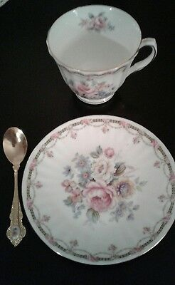 ANTIQUE  Royal Winchester  Bone China England Tea Cup,Saucer, Gold Spoon & Trim
