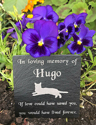 Personalised Engraved Slate Pet Memorial Grave Marker Plaque for a Cat