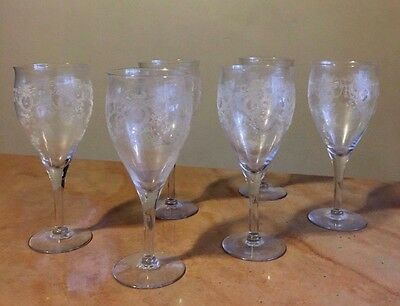 6 Antique Victorian Clear Etched Elegant CHAMPAGNE WINE STEMS Drinking Glasses