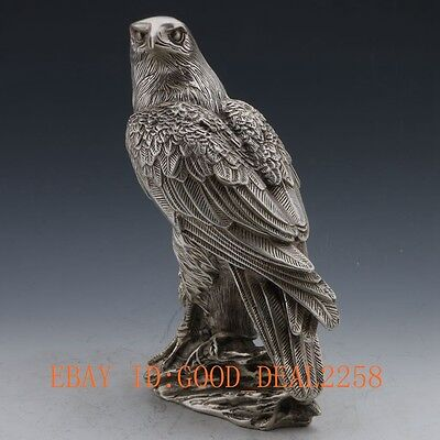 China Silver Copper Handwork Carved Eagle Statue gd2552