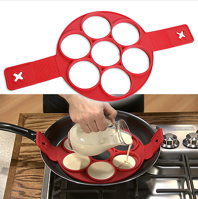 Make Perfect Pancakes or Egg Ring Easy With Flipping Fantastic Nonstick Red Mold