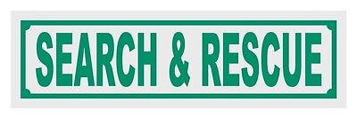 Search & Rescue Title Reflective Decal Sticker Helmet Window - Green Color