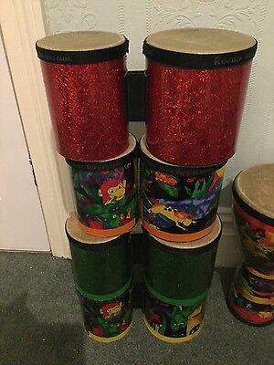 3 Remo Bongos Kids Jungle Rainforest, red or green.
