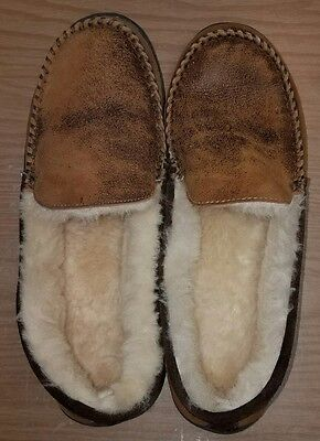 Cabela's Mens Leather  Shearling Lined Moccasin  Slippers Size 14 EXCELLENT