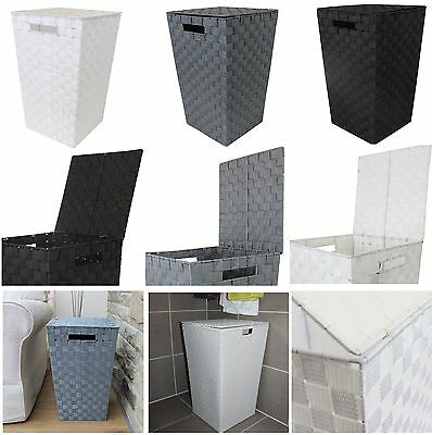 Modern Tapered Laundry Basket With Inset Handles Washing Clothes Utility Bin New