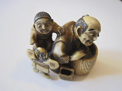 Antique Japanese Netsuke Father & Son Signed