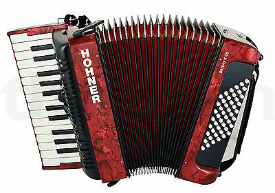 Hohner Bravo 48  Accordion Red Pearl