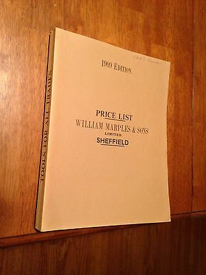 William Marples & Sons Sheffield Tools Price List 1909 Edition *reprinted 1979