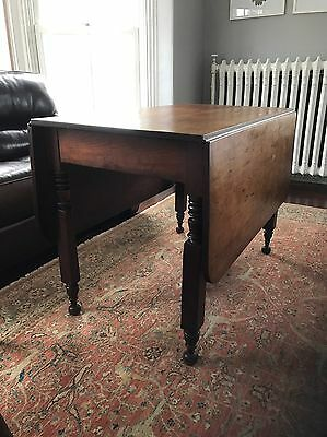 Early Century Wide Plank Cherry Drop Leaf Table