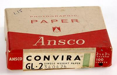 "Vintage Ansco Convira GL-2 Contact Photo Paper 2-1/2"" X 3-1/2"" 100 Sheet Box"