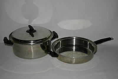 """Volrath Vacumatic 304-s tri ply stainless 5qt pot & 11.5"""" skillet with lid"""