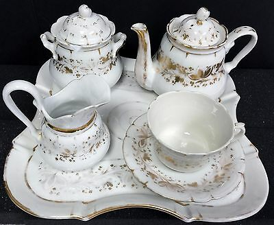 Antique 8 piece Porcelain Tea Service Set Gold floral design sugar creamer tray