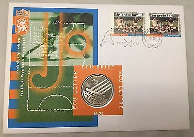 1998 Netherlands First Day Cover FDC Brief #29 w/ ECU Coin 100 Years Hockey-L585