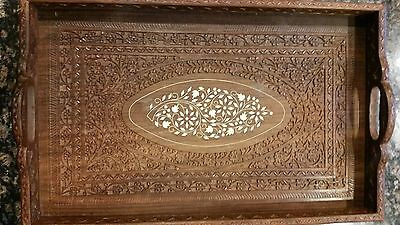 India Carved Wood Serving Tray With Inlay