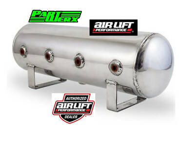 "Polished Air Lift 2.5 Gal Aluminum Air Tank 4 1/4"" Face Ports  Drain 20"" Lx6""D"