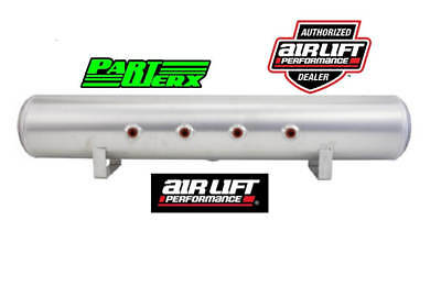 "Air Lift 5 Gal Alum Air Tank 4 3/8"" Face Ports 1/4"" Drain Port 36""Lx6""D Air Ride"