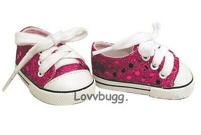 Quality Hot Pink Sequin Tennis Sneakers for 18 inch Doll Shoes American Girl